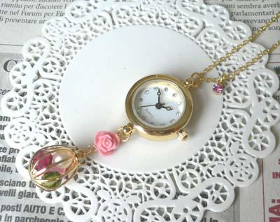 時計ネックレス鳥籠
