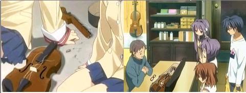 大破したバイオリン。