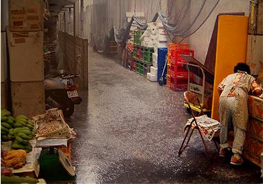 沖縄、石垣島の雨の風景