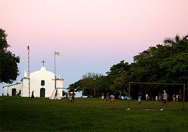 トランコーゾの広場の画像。みんなここで裸足でサッカーをしていた