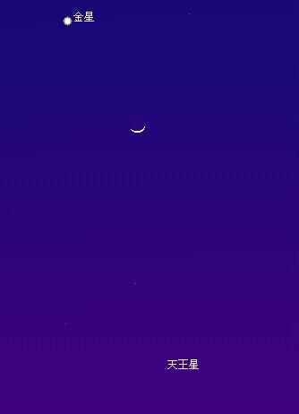 2007 2 19 生まれたての月と並ぶ星図1