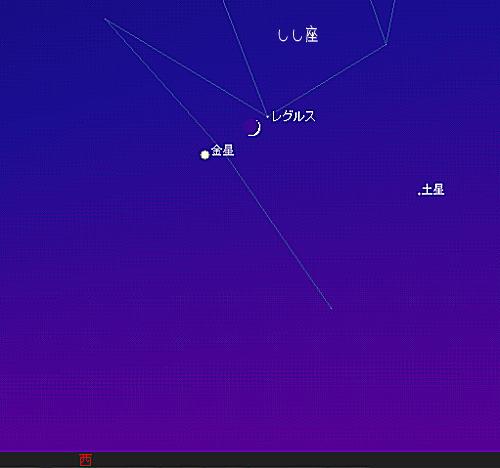 2007 7 17 宵の明星と三日月と 星図2