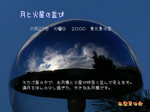 2007 11 27 月と火星の並び