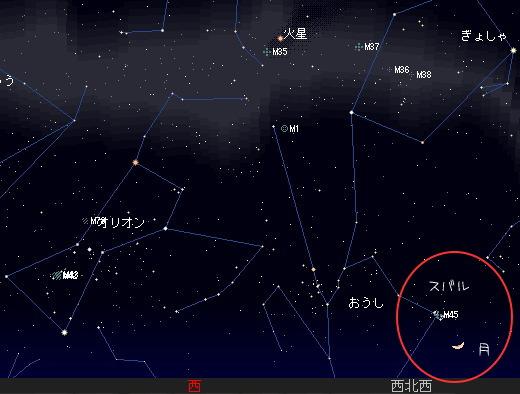 2008 3 12 三日月とプレアデス星団の接近星図2