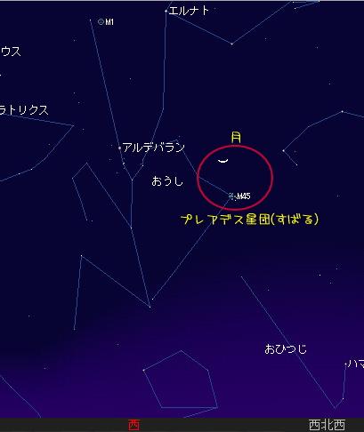2008 4 9 細い月とすばる星図