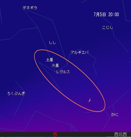 2008 7 6 細い月と火星・土星・レグルス星図7_5