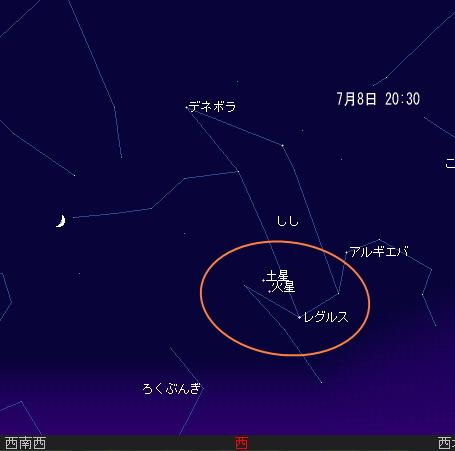 2008 7 6 細い月と火星・土星・レグルス星図7_8