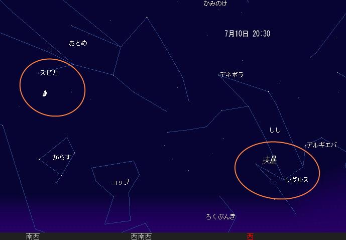 2008 7 10 火星と土星の大接近と月とスピカの星図1