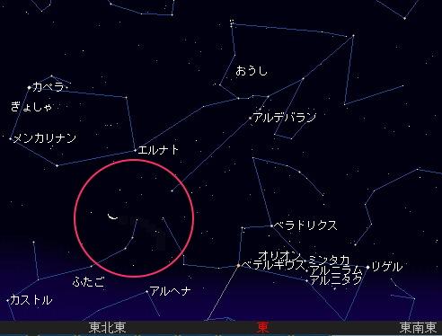 2008 7 30 早朝のお月見を星図