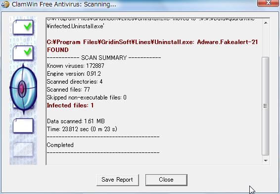 ClamWin found adware.fakealert-21