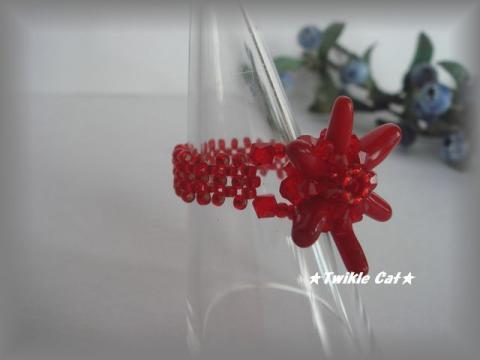 赤珊瑚花リング