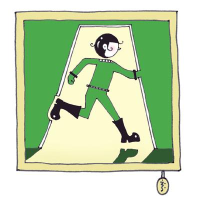"""Q:この画、何かが間違っています                                                                                          誘導灯(非常口)は1982年から""""走る画""""になっただよ~                                           ってコトは、23年走り続けてるのね(笑)"""