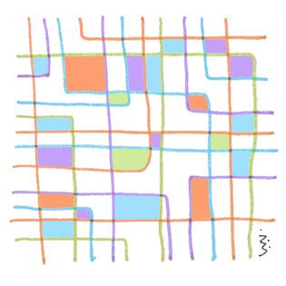 """血液型・・・                             4色の異なるタイプのラインは自由奔放に動きまくる。それぞれが交流する点に""""溜まり""""が出来る。""""溜まり""""には ○▲□・・・                                     ZZZzzz・・・     ZZZzzz・・・     ZZZzzz・・・"""