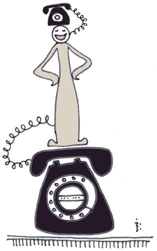 黒電話にはさまれて 幸せ?
