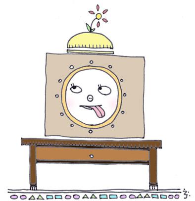 『 顔時計 』 ~ぺこちゃん風~(爆)                                                   22時25分?それとも朝の4時50分?どっちだ??んっ?(爆)