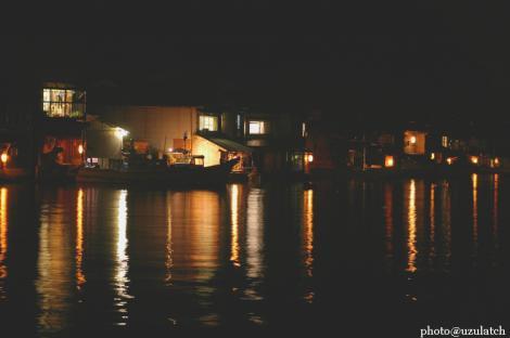 FUNAYAの里^夜の舟屋
