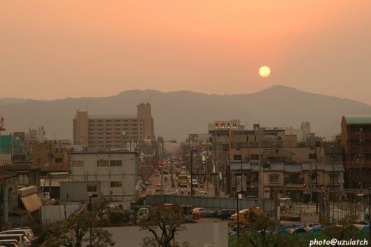二条駅からの夕日