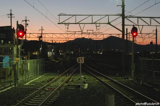 夕暮れの線路