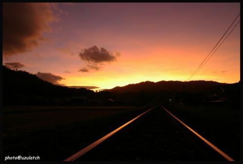 線路の夕景