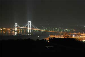 室蘭市祝津展望台白鳥大橋夜景