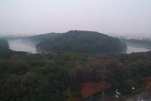 霧に煙る仁徳陵内濠