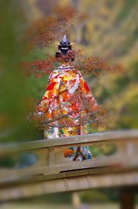紅葉越しの花嫁