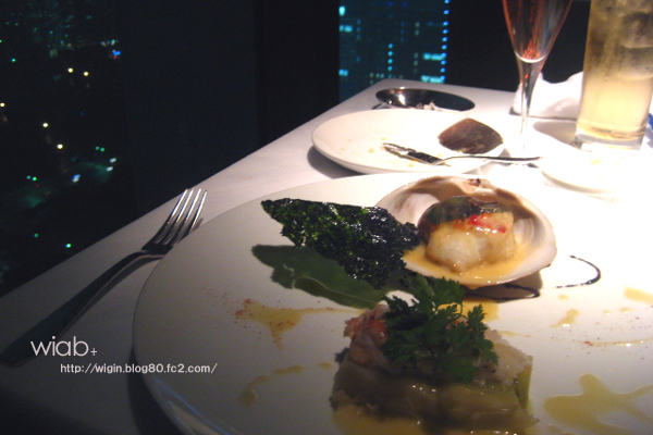 鮑・雲丹・石鰈・オマール海老の包み焼き タラバ蟹のヴァプール添え バルサミコとブールブランソース