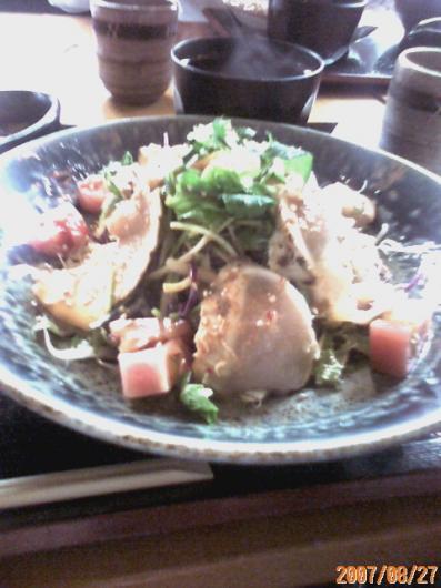 楽てん(鶏胸肉タタキサラダ定食)