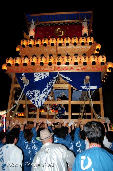 西条市の祭り 親善会だんじり(屋台) 東予秋祭り統一運行10 西条市壬生川 壬生川駅前通り 2008年10月11日