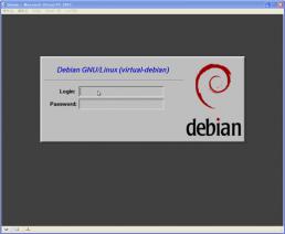 仮想Debianのログイン画面