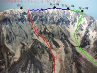 大山南壁全体図と今回のルート