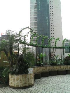 駅前に飾られた庭園