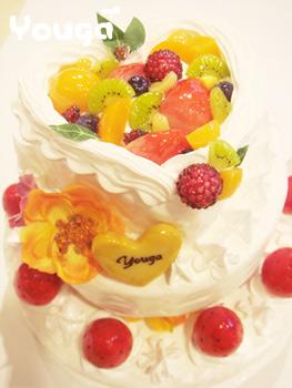 ツヤキラフルーツの3段ケーキ♪