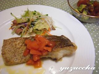 真鯛のムニエル&マグロとアボガドのサラダ