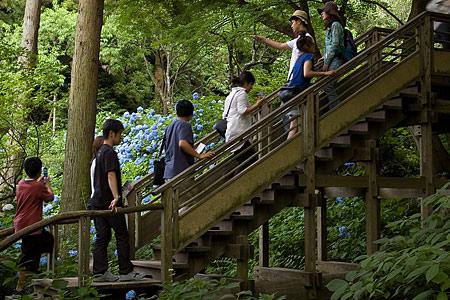 階段に並ぶ人たち