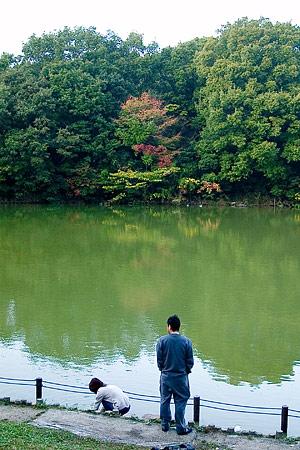 紅葉はまだ遠い池のほとりのふたり