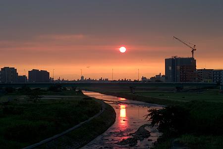 矢田川と香流川の夕陽