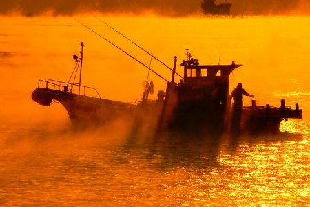 朝霧と漁船 08/03/06